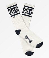 Vans x Independent II White & Navy Crew Socks