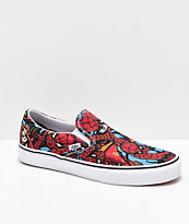 Vans x Marvel Slip-On Spiderman zapatos rojos y azules