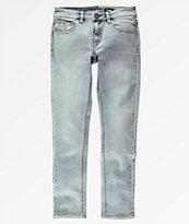 Volcom Solver Allover Stone jeans cónicos con lavado azul claro para niños