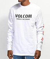 Volcom Stranger camiseta de manga larga blanca y roja