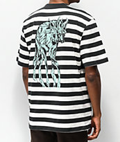 Welcome Maned Woof Black & White Striped Knit T-Shirt