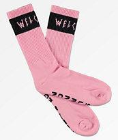 Welcome Summon Pink & Black Crew Socks