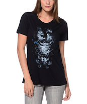 Wenanami Cat Constellation Black Tee Shirt