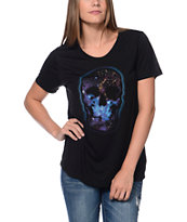 Wenanami Galaxy Skull Black Scoop Neck Tee Shirt