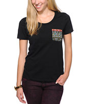 Wenanami Tribal Pocket Black Scoop Neck Tee Shirt