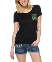 Workshop Cannabis Pocket Black Scoop Neck Tee Shirt