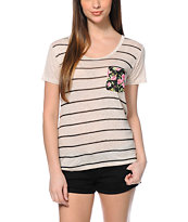 Workshop Floral Pocket Natural Stripe Scoop Neck Tee Shirt