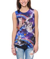 Workshop Space Cats Cosmic Trip Purple Muscle T-Shirt