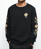 YRN Floral Sleeve Black Crew Neck Sweatshirt