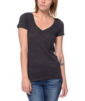 Zine Beta Charcoal Stripe Slub V-Neck T-Shirt