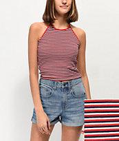 Zine Lyza Red, White & Blue Stripe Halter Crop Top
