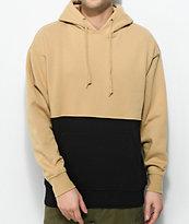 Zine Mass sudadera con capucha en color caqui y negro