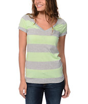 Zine Mint & Grey Rugby Stripe V-Neck T-Shirt