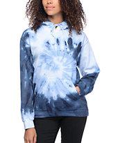 Zine Tera Blue & White Spiral Tie Dye Hoodie
