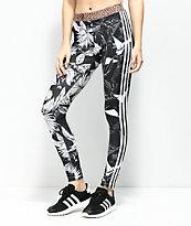 adidas  Floral 3 Stripe Leggings en negro y blanco