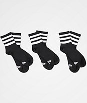 adidas 3 Pack Black Anklet Socks