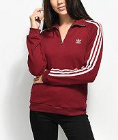 adidas 3 Stripe Burgundy Partial Zip Sweatshirt