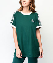 adidas 3-Stripe Collegiate Green & White T-Shirt