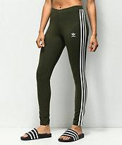 adidas 3 Stripe Olive Leggings
