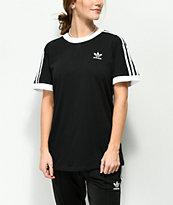 adidas 3 Stripe camiseta negra