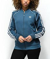 adidas 3 Stripe chaqueta de chándal en verde azulado oscuro
