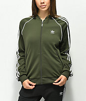 adidas 3 Stripe chaqueta de chandál oliva