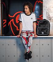 adidas 3 Stripe leggings rojos de piñas