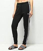 adidas 3 Stripe pantalones atléticos en negro