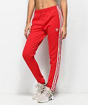 adidas 3 Stripe pantalones rojos de chándal