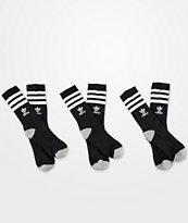 adidas Originals Youth Roller Black 3 Pack Crew Socks