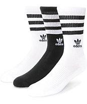 adidas Roller paquete de 3 calcetines negros y blancos