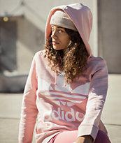 adidas Trefoil Logo sudadera con capucha rosa claro