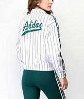 adidas Vertical 3-Stripe White Windbreaker Jacket