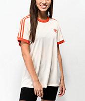 adidas camiseta de 3 rayas de malla blanquecina
