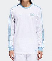 adidas x Krooked camiseta de manga larga blanca y azul claro
